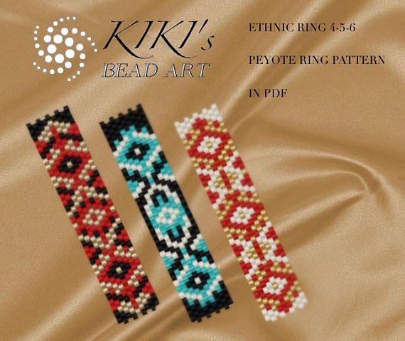 Pattern, peyote ring patterns Ethnic ring 4,5,6 - peyote ring ...
