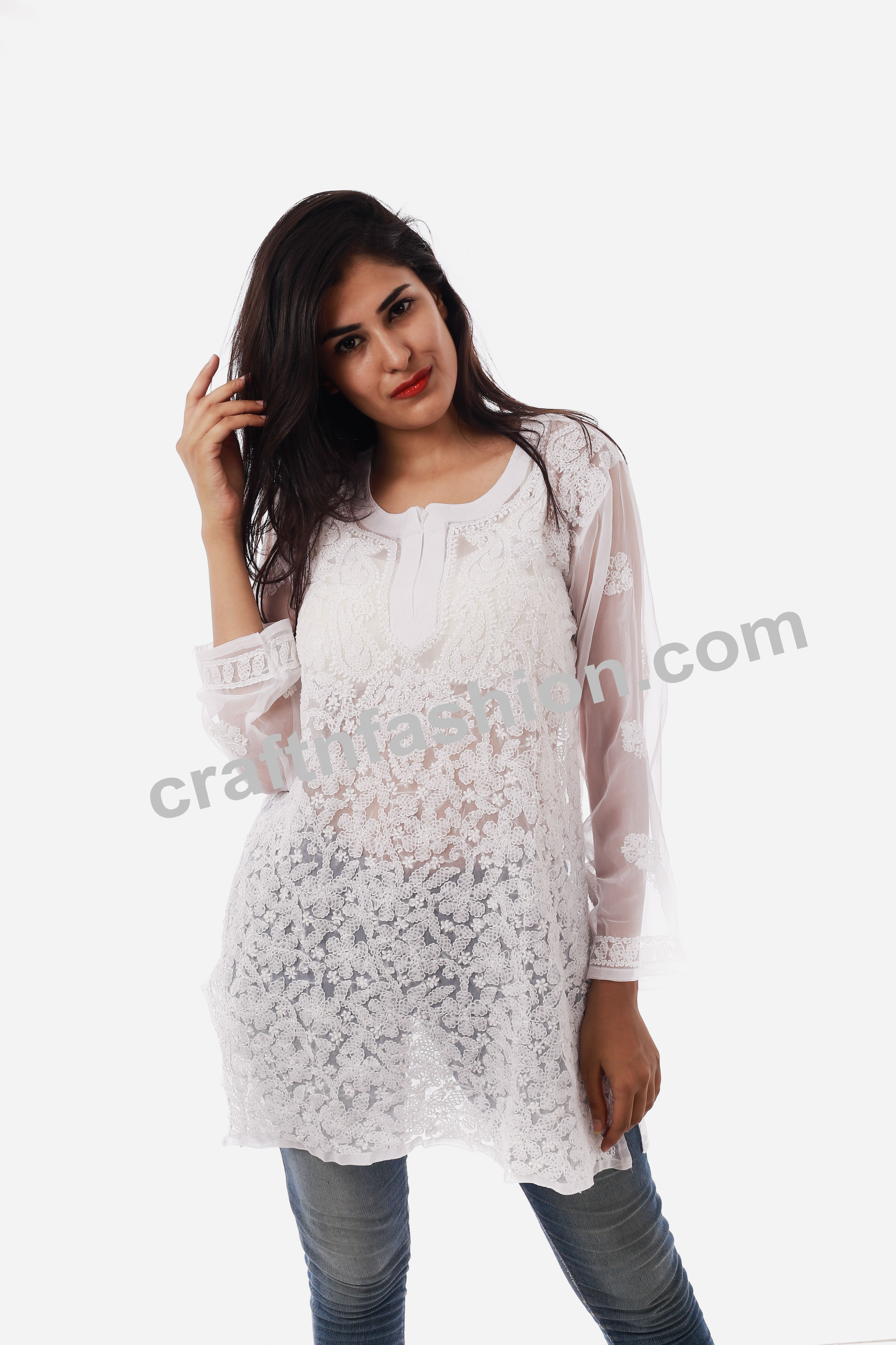 Beach Wear Party Wear White Colored Top Chikankari Dress Indian Fashion Wear Designer Lucknowi Top Chikan Embroidered Georgette Kurti