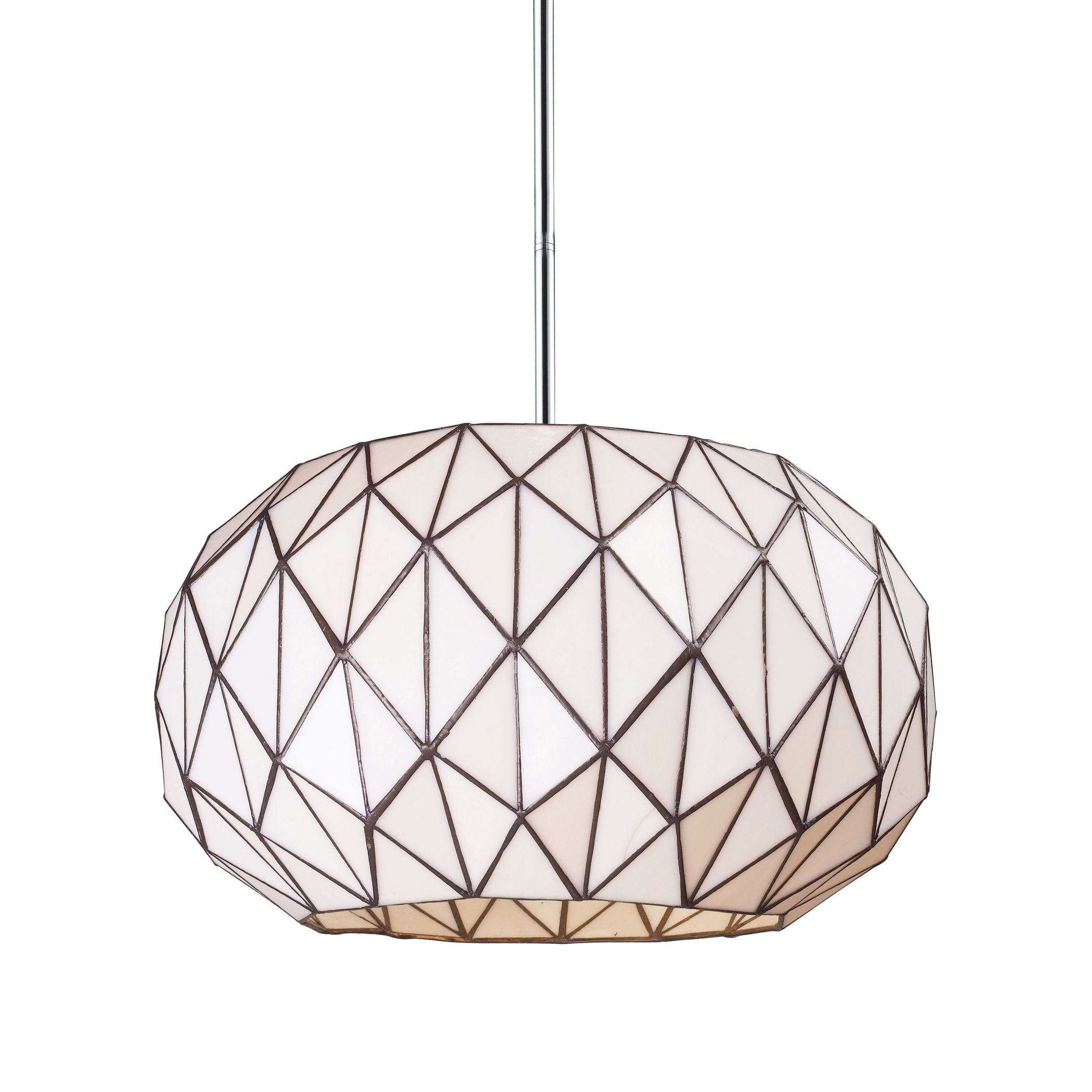 The Tetra pendant brings a modern approach to classic Tiffany-style lighting, using triangular pieces of cut glass assembled in a contemporary, geometric shape. The chrome finish sets the piece off in modern style.