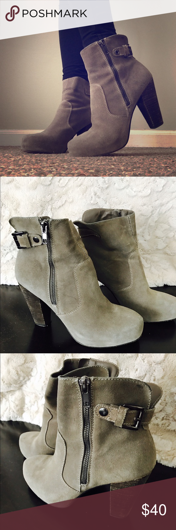 Suede ankle boot with zipper and wooden heel Stylish grey boots with zipper and strap detail. Perfect with any outfit! Barely worn - like new. Steve Madden Shoes Ankle Boots & Booties