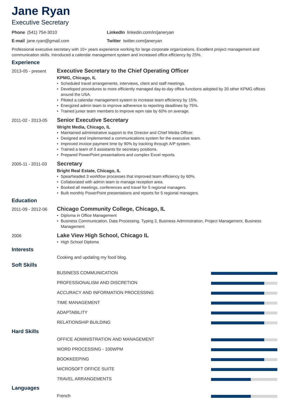 secretary resume template minimo in 2020 Resume template