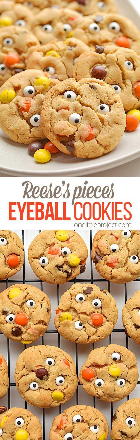 Reeses Pieces Peanut Butter Eyeball Cookies