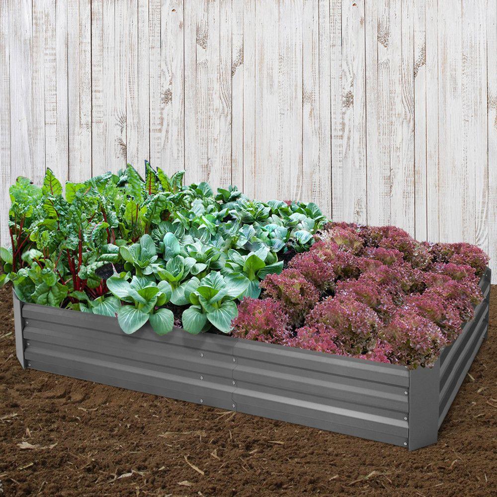 Green Fingers Set Of 2 210cm X 90cm Raised Garden Bed Aluminium