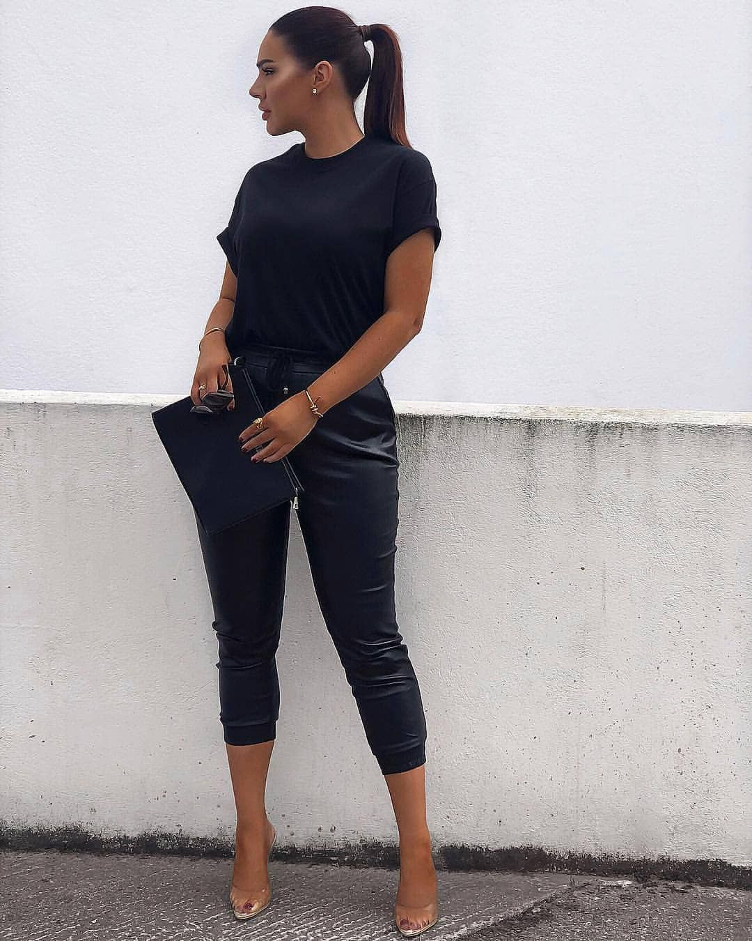 91a6d09eaddbd #misseyempire Slogan Tee, Cropped Trousers, All Black Everything, Back To  Black,