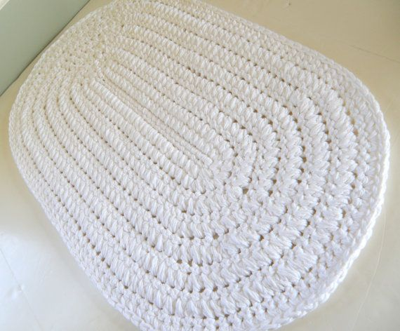 White Oval Bath Rug Thick N Plush Bath Mat By Cottagecovecrochet