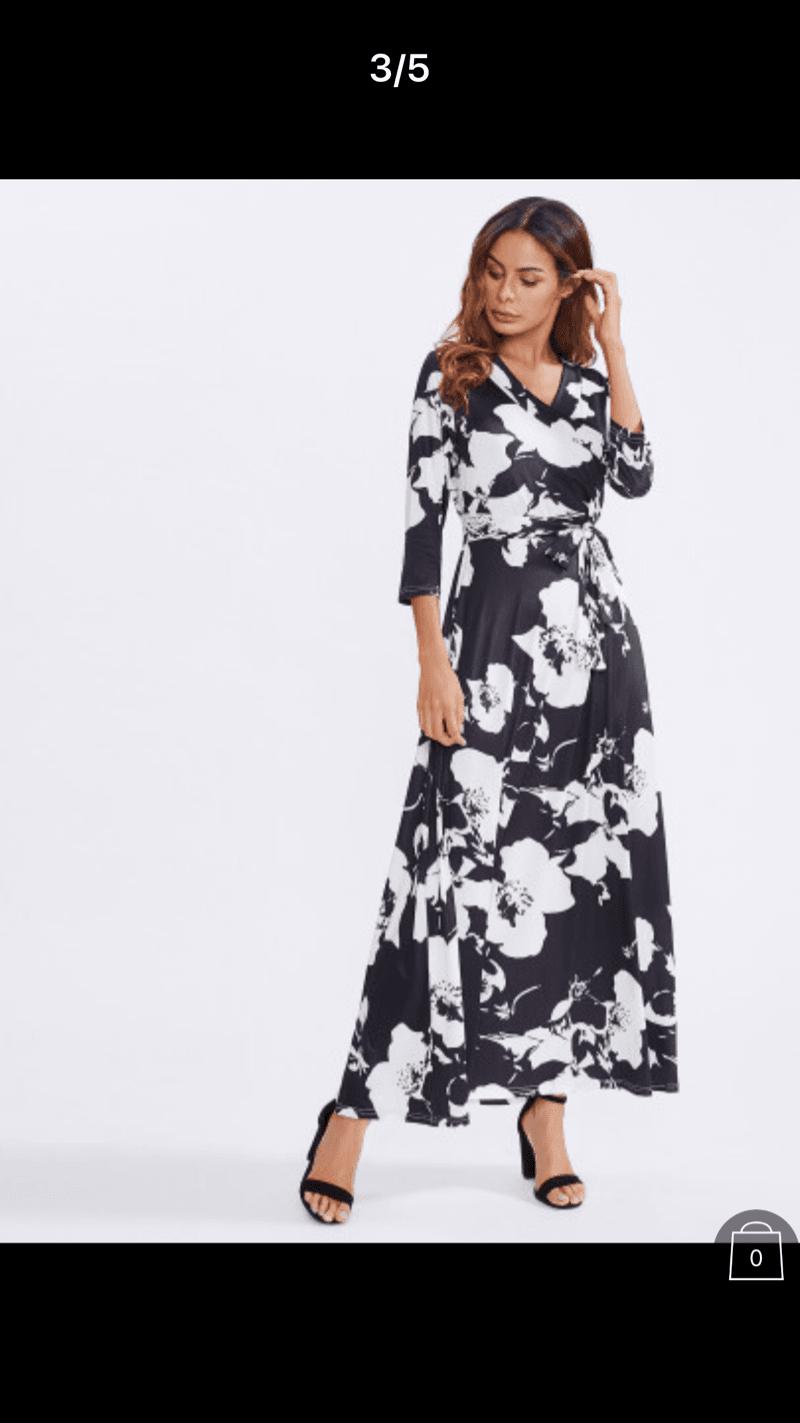 130715987084 Flower Print Tie Waist Longline Dress -SheIn(Sheinside) | Leah's Bat ...