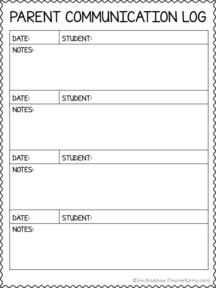 Photo of Parent Communication Logs: FREE Classroom Management Forms — Teacher KARMA