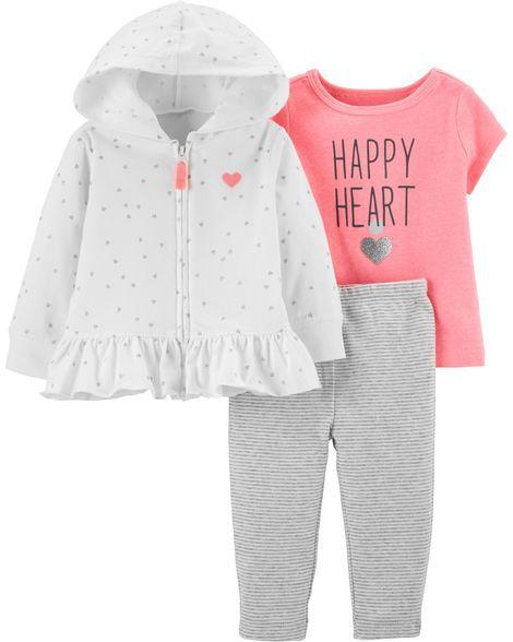 Multiple Design NEW Carter/'s 3-Piece Baby Girl Bodysuit /& Pant Set