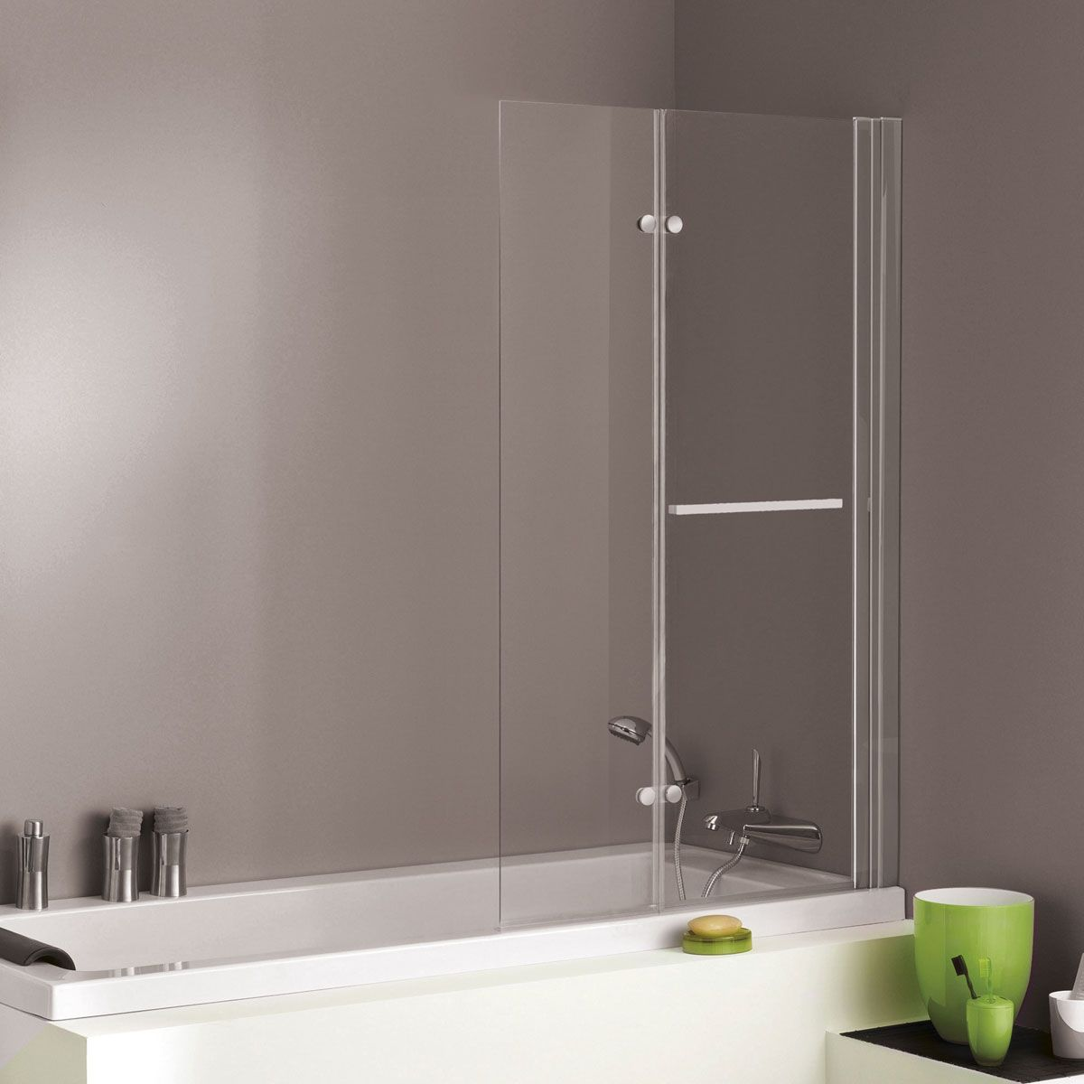 Jacuzzi Essentials Double Hinged Shower Bath Screen Bath Screens