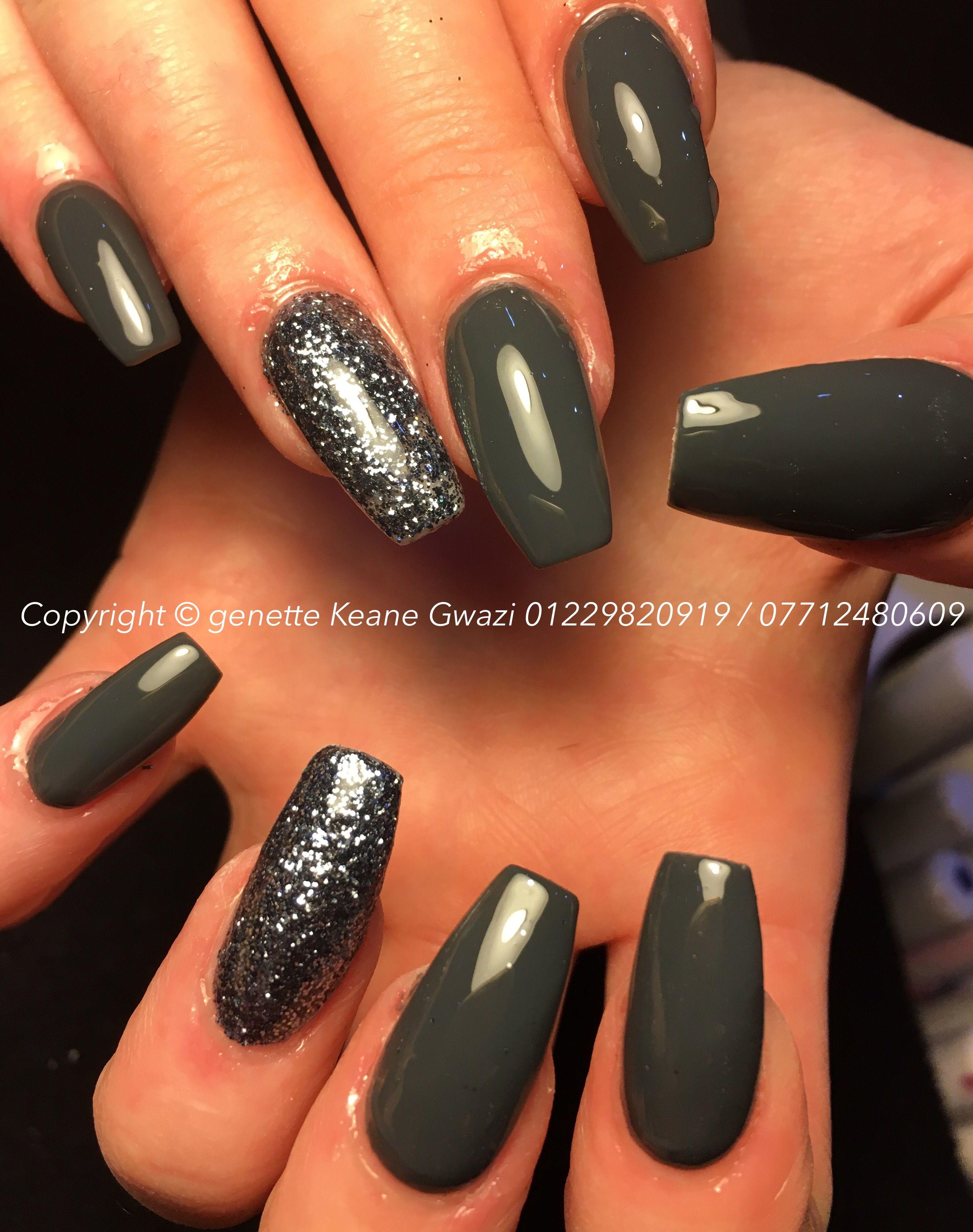 Grey Gun Metal Glitter Acrylic Nails