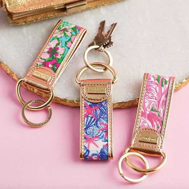 Preppy Handmade Key Fob Key Chain w// Lilly Pulitzer Fabric Mini Size Many Prints