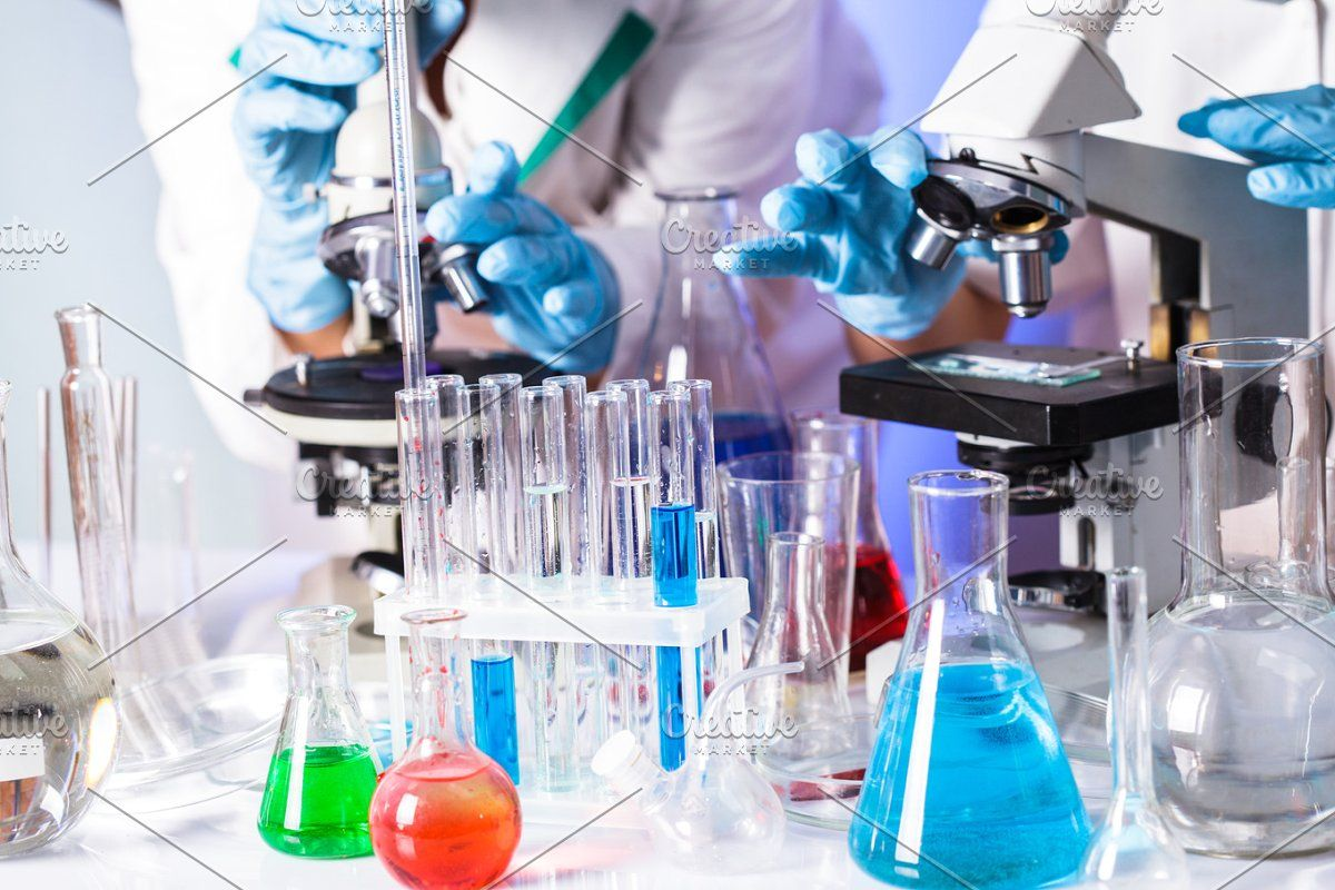 scientists in the chemical laboratory in 2020