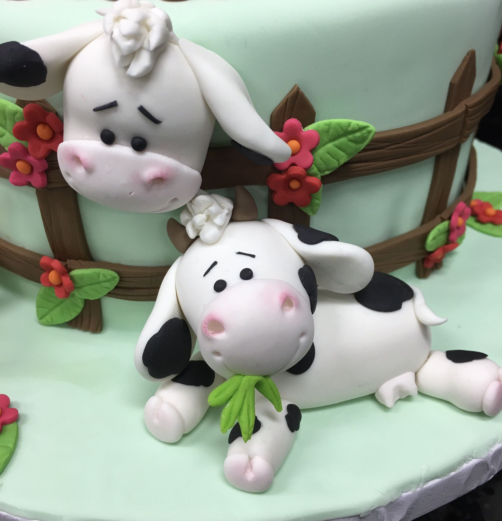 Custom Cow Birthday Cake Topper with or without 3D flowers