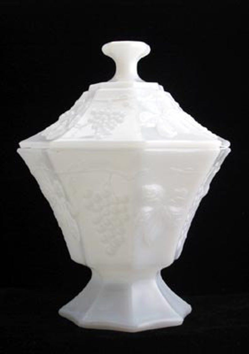 Anchor hocking milk glass pedestal covered candy dish