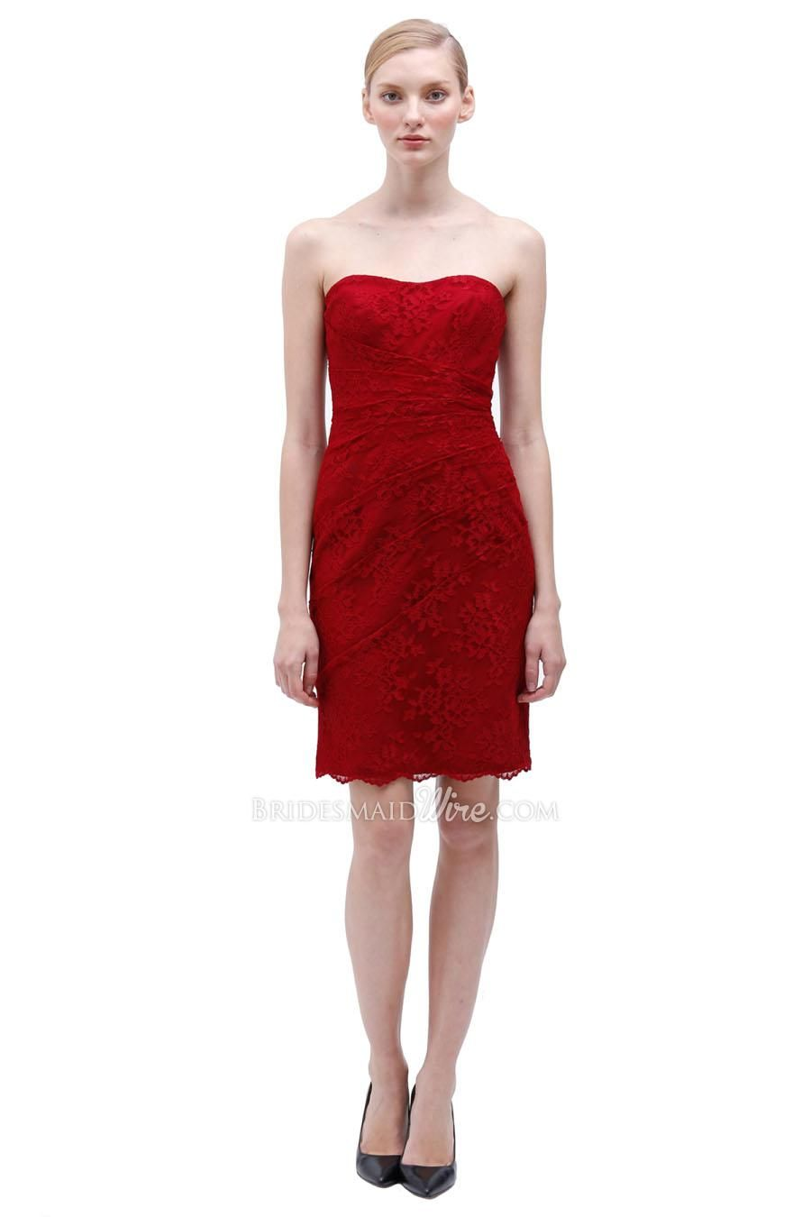 Gorgeous sheath knee length strapless red lace bridesmaid dress gorgeous sheath knee length strapless red lace bridesmaid dress ombrellifo Image collections