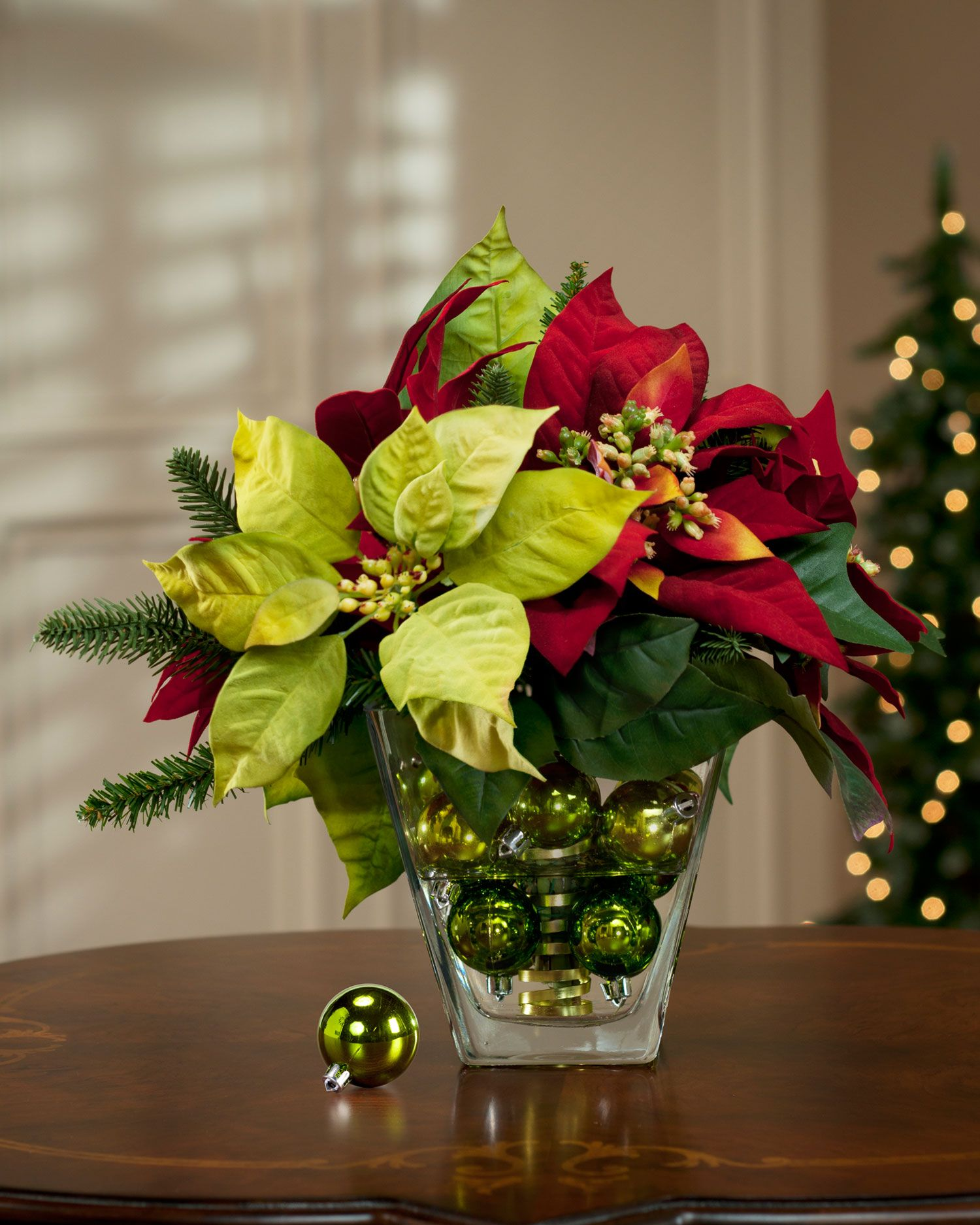 Ornaments In Glass Containers As Centerpieces Mixed Poinsettia Silk Flower Centerpiece Christmas Centerpieces Christmas Flowers Christmas Flower Arrangements