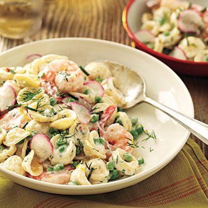 Orecchiette With Peas Shrimp And Buttermilk Herb Dressing Recipe Best Pasta Recipes Recipes Herb Dressing Recipe