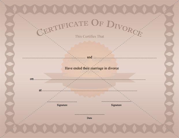Divorce Certificate Template Printable