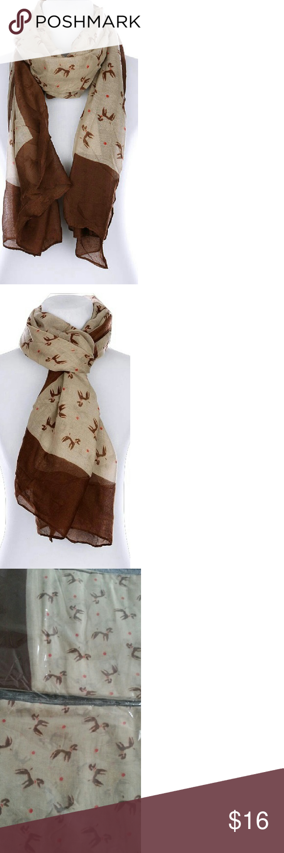 Brown Poodle Scarf Brown Poodle Scarf New straight from vendor Length 72 inches Width 36 inches Materials Viscose Cute way to add style to your outfit Bundle to save on shipping and get a discount Accessories Scarves & Wraps