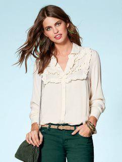 1769e29b50a3 Camisa mujer manga larga con volantes tejido bambula | Outfits jeans ...
