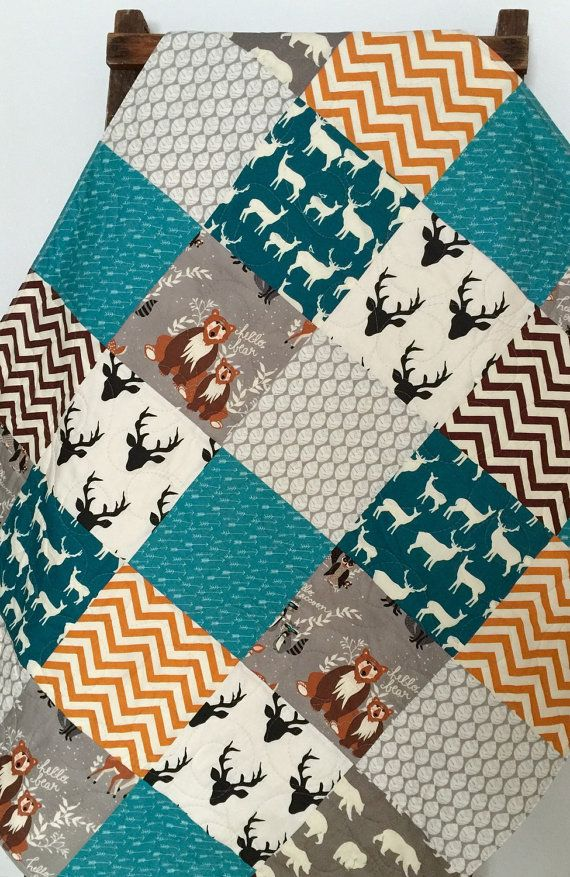 Baby Boy Quilt, Patchwork, Hello Bear, Fox, Raccoon, Owl