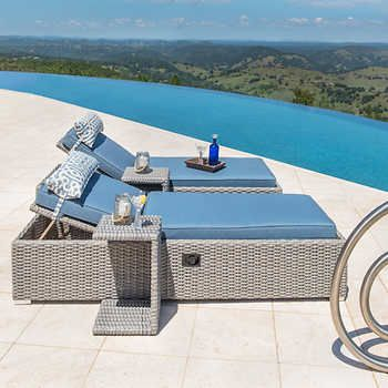 Niko Chaise Lounge With Side Table In Slate 2 Pk By Sirio