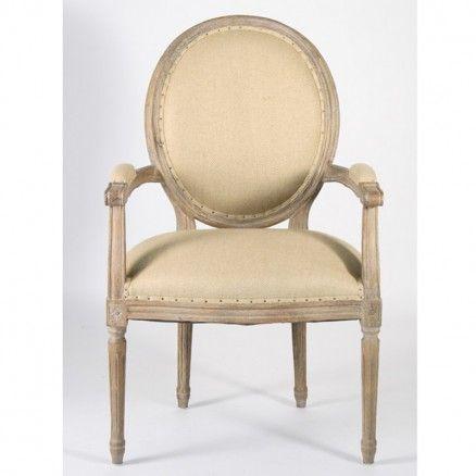 Remarkable Medallion Arm Chair in Limed Oak Wood, Upholstered in Hemp Linen