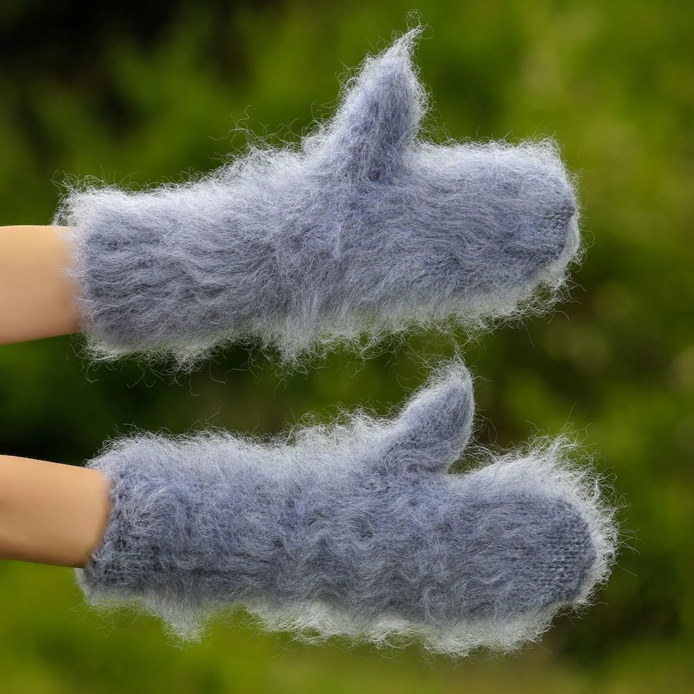 Gray Hand knitted mohair mittens fuzzy thick fluffy hand warmers by SUPERTANYA #SuperTanya #Mittens