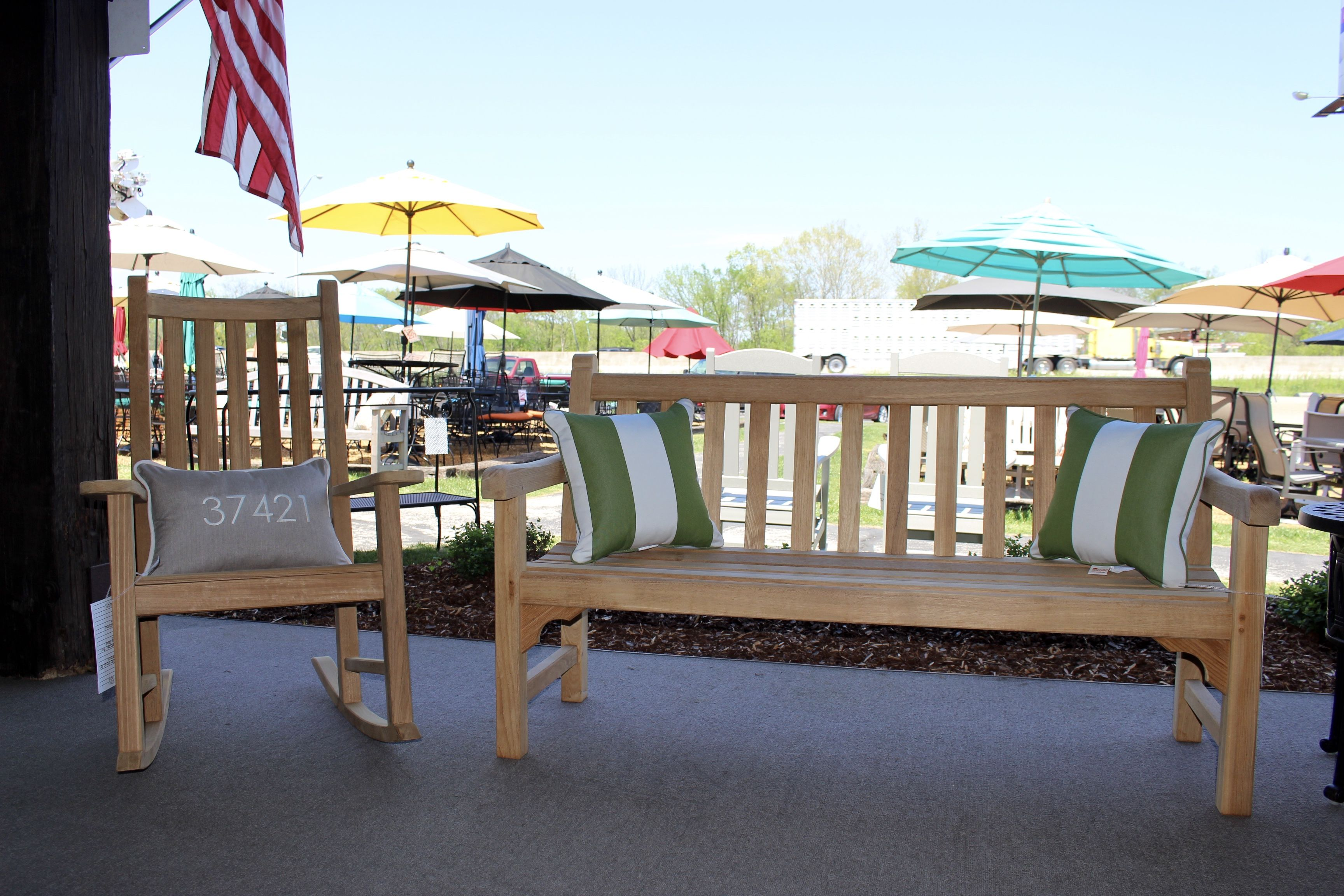 Incredible Wooden Bench And Rocking Chair The Patio Shop Furniture Short Links Chair Design For Home Short Linksinfo