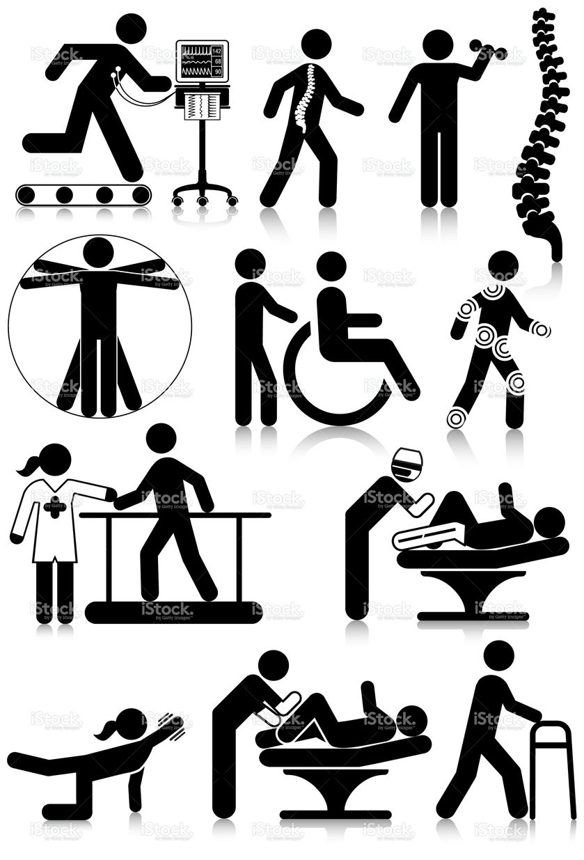 Vectored Standard Pictograms Of Physiotherapy Staff And Activities