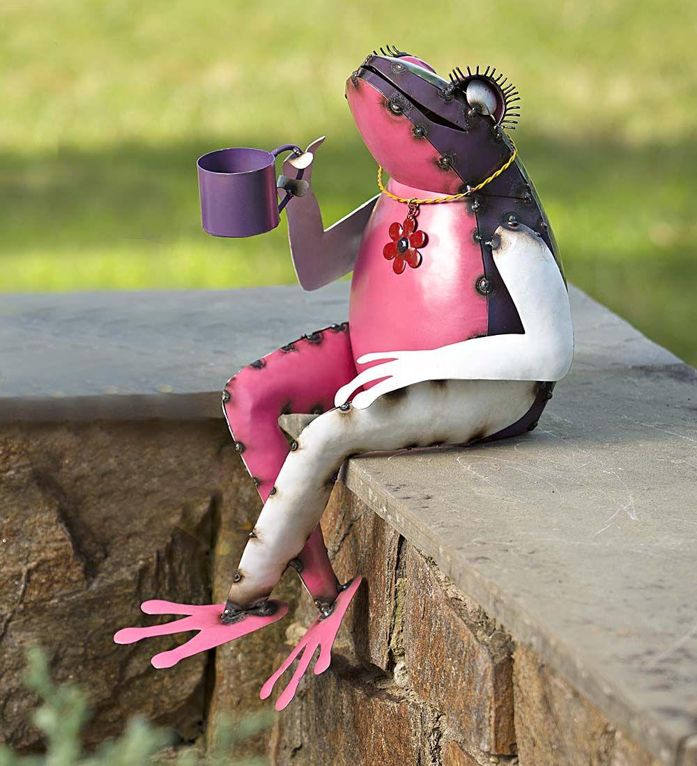 Recycled Metal Tea Frog Garden Art Garden Statues