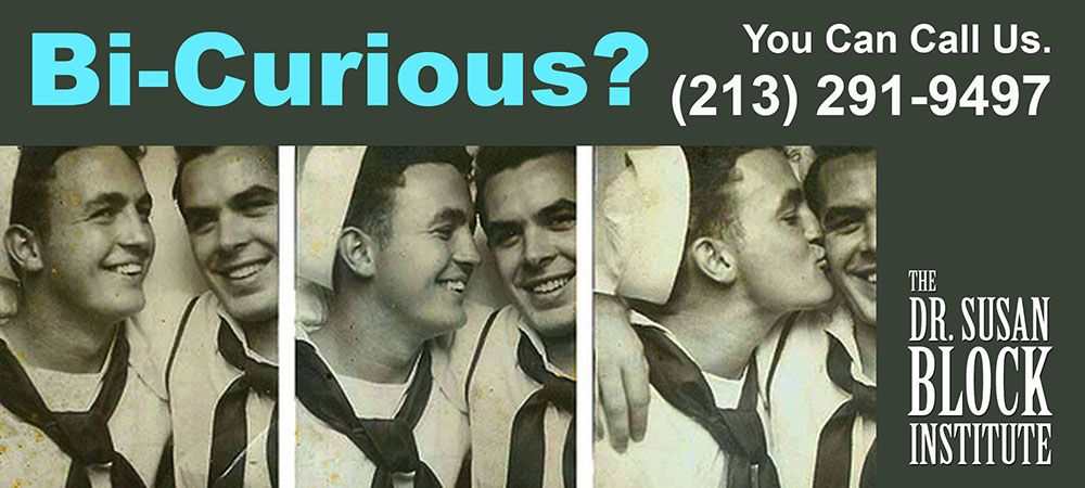 "You're curious—maybe you've suddenly noticed an attraction to someone of the same sex, maybe you've been fighting it your whole life, or maybe you just think, ""hey, that might be fun!""  And maybe you're also attracted to people of the so-called ""opposite"" sex.  So, what should you do about your bisexual or ""bi-curious"" feelings? Need to talk? You can call us, we're available 24/7: 213.291.9497"