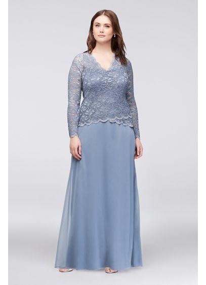 Long Sleeve Lace And Chiffon Plus Size Dress 949634 Wedding