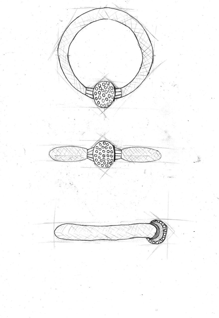 Dibujo Tecnico Pulsera De Sus Tres Vistas Principales Alzado Planta Y Perfil Diseno De Joyas Tecnicas De Dibujo Te Para Tres