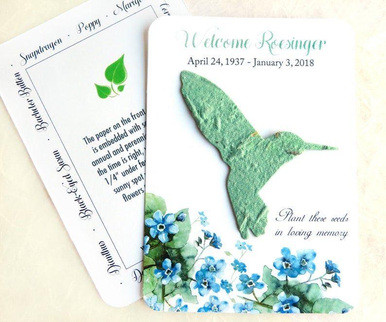 50 plantable hummingbird memorial cards flower seed paper