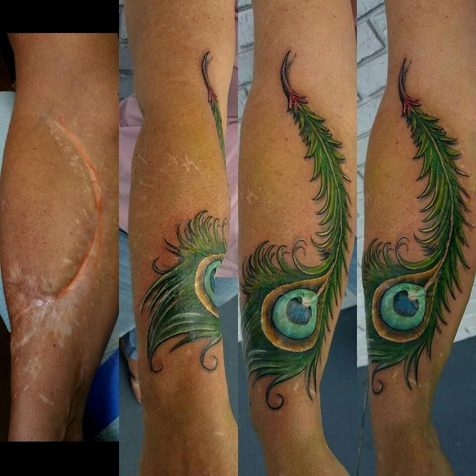 Peacock feather tattoo and scar cover up by rob figueroa for Tattoos to cover surgery scars