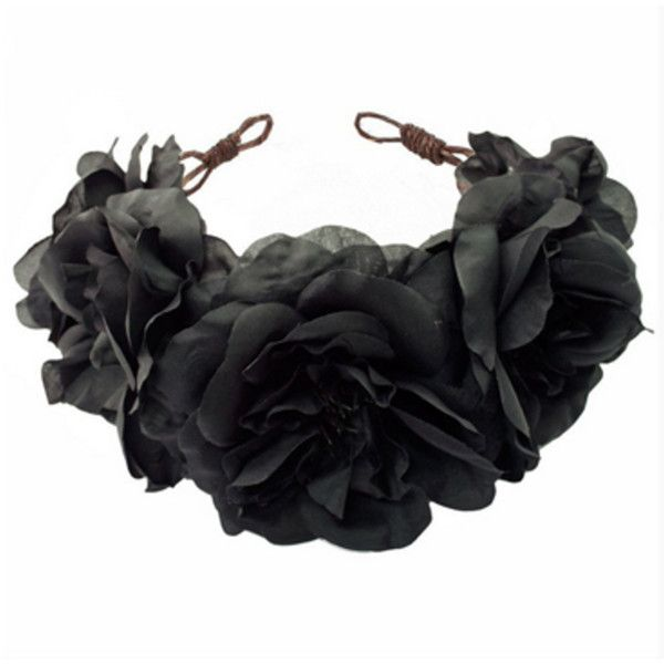 Rock N Rose Ophelia Floral Crown Headband (€65) ❤ liked on Polyvore featuring accessories, hair accessories, black, head, flower crown, hair, flower crown headband, flower garland, rose crown headband and black flower crown #crownheadband