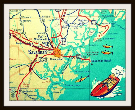 Map Of Georgia For Kids.Savannah Map Savannah Georgia Map Print Hilton Head Island Beach