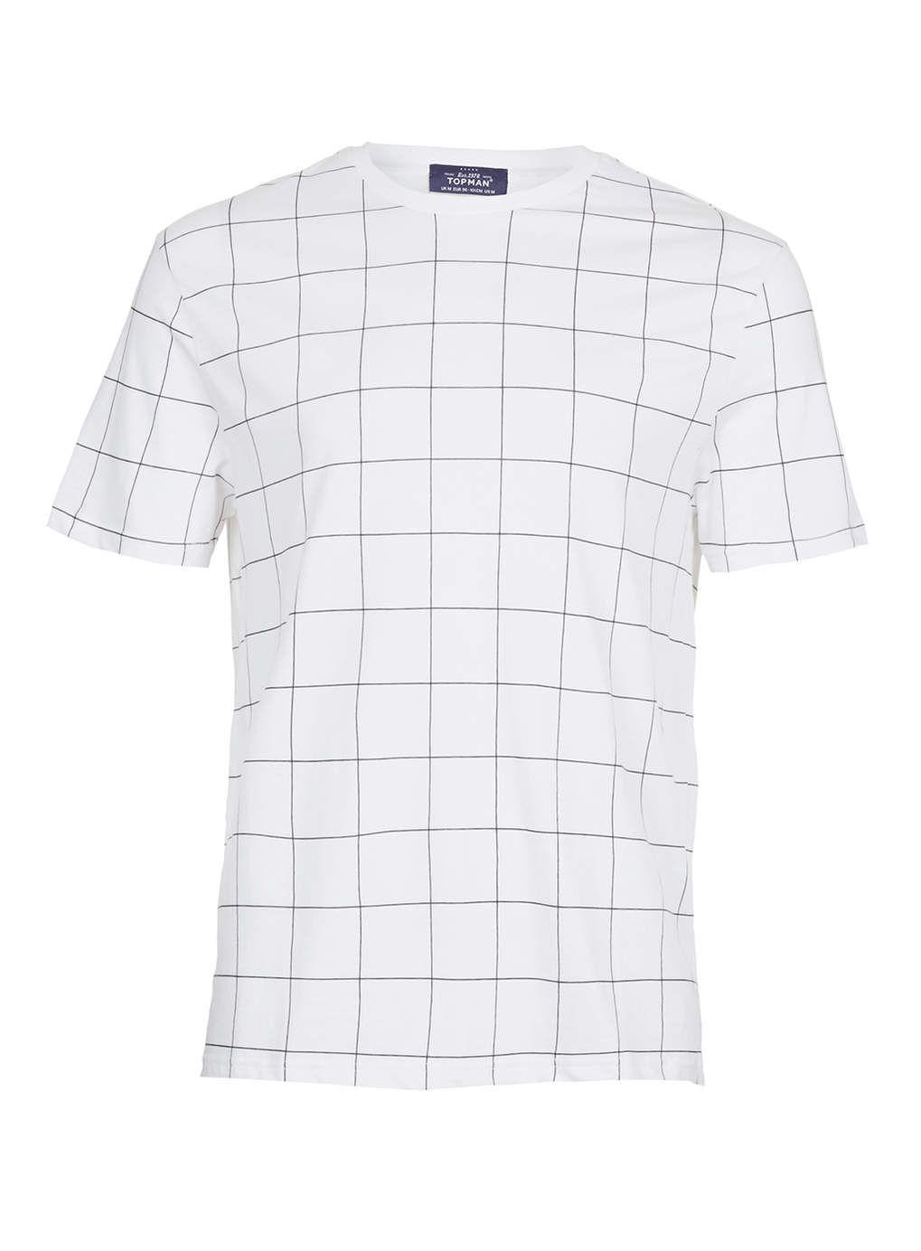 Black t shirt topman - White Grid Print T Shirt Topman Europe