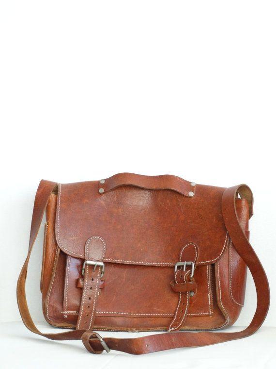 ae1b3b52f61 Vintage Brown Leather Bag Bruin Leder, Schooltassen, Portefeuilles