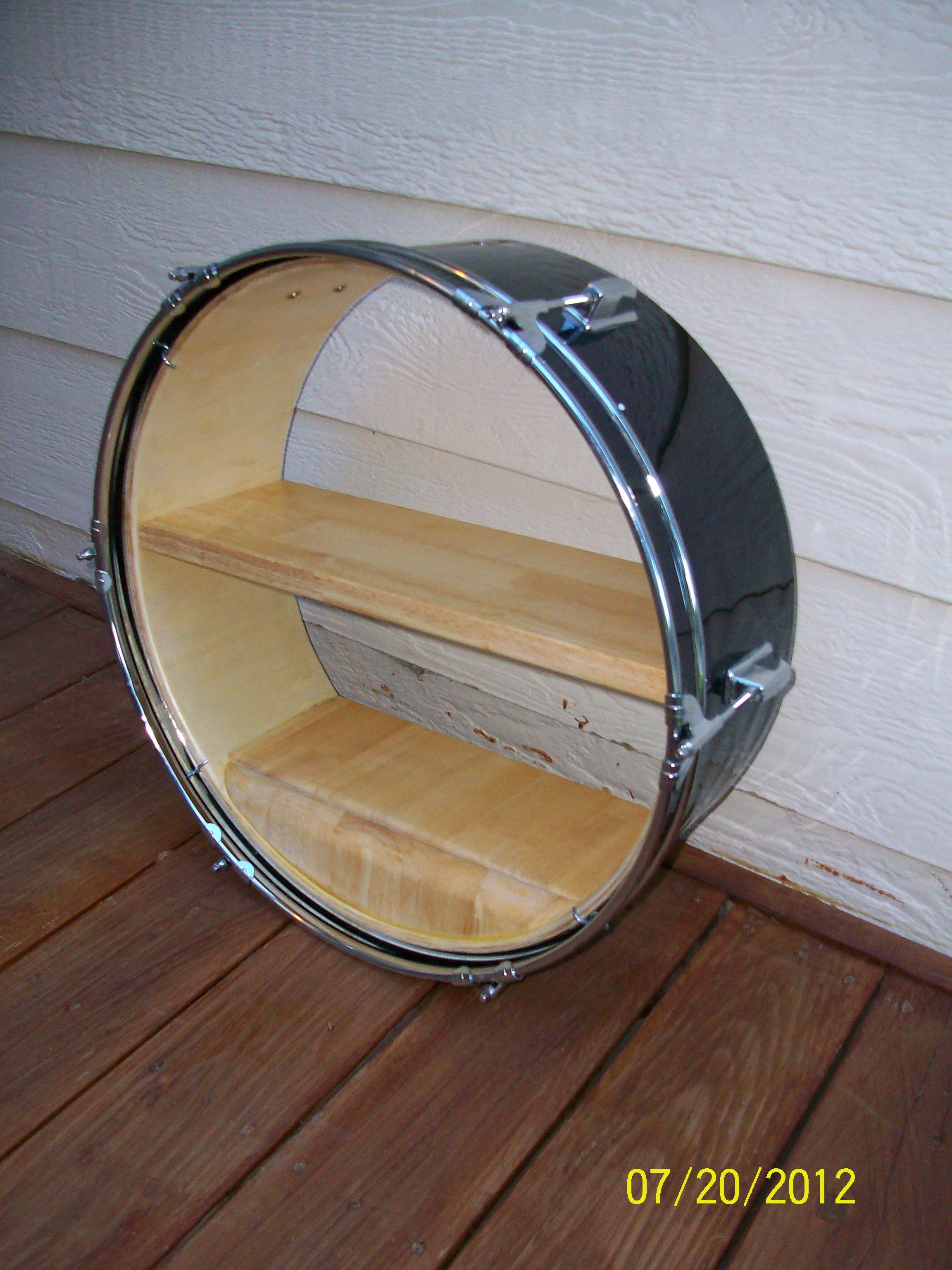 New Shelf Made Of Out An Old Drum Recycle Instruments Diy Pinterest