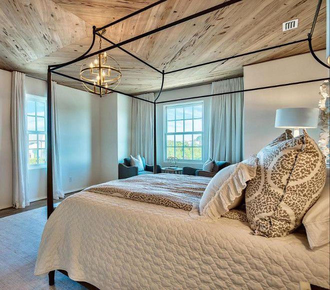 Wood Ceiling Master Bedroom Ceiling Features 1 X 6 Pecky Cypress Wood In Diamond Pattern Pecky C Beach House Bedroom Dream House Rooms Beach Houses For Sale