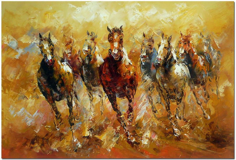 Details about Running Horses - Hand Painted Impressionist ...