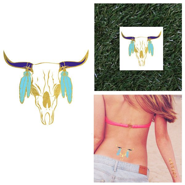 Gold, Blue and Turquoise Native Bull Aztec Temporary Metallic Flash Jewelry Tattoo