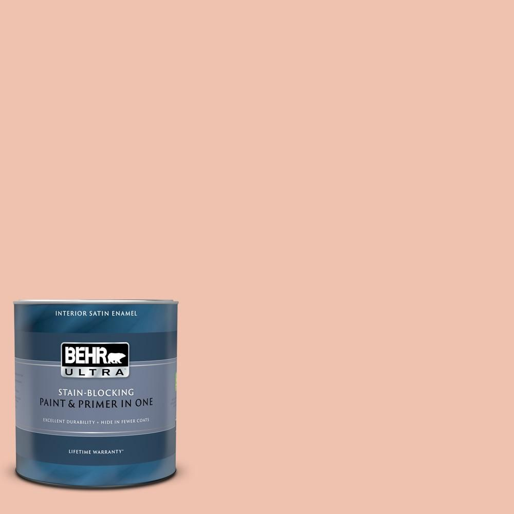 Behr Ultra 1 Qt M180 3 Flamingo Feather Satin Enamel Interior Paint And Primer In One 775404 The Home Depot In 2020 Interior Paint Behr Ultra Behr