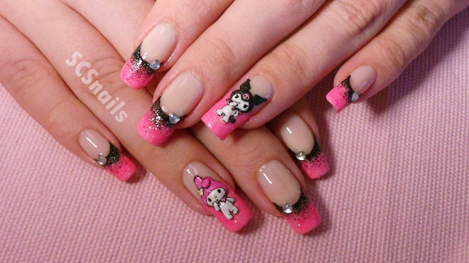 Sanrio Nail Art With Kuromi And My Melody 3d Acrylic Sanrio Characters Minimalist Nails Pretty Acrylic Nails Grunge Nails