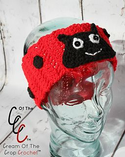 630283c670b Ravelry  Ladybug Ear Warmers pattern by Cream Of The Crop Crochet ...