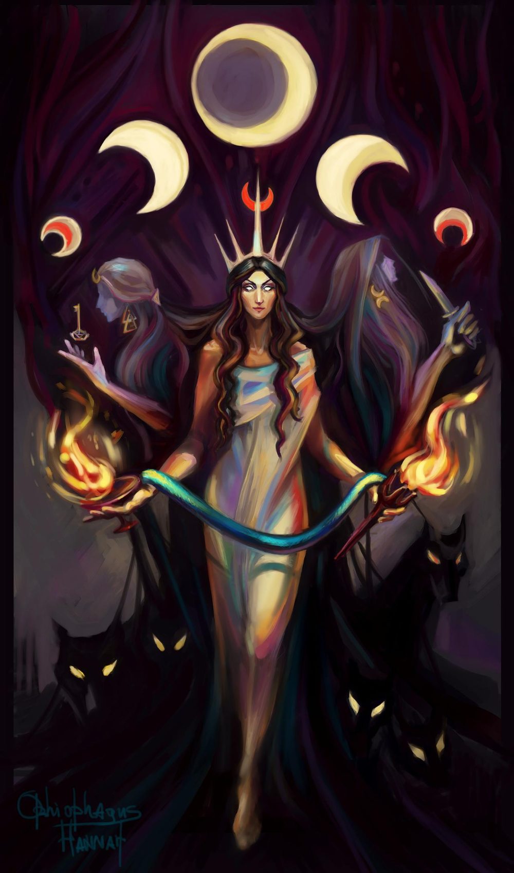 Mysterious and Dark Sides of Hecate by OphiophagusHannahArt on DeviantArt | Wiccan art, Greek mythology art, Goddess art