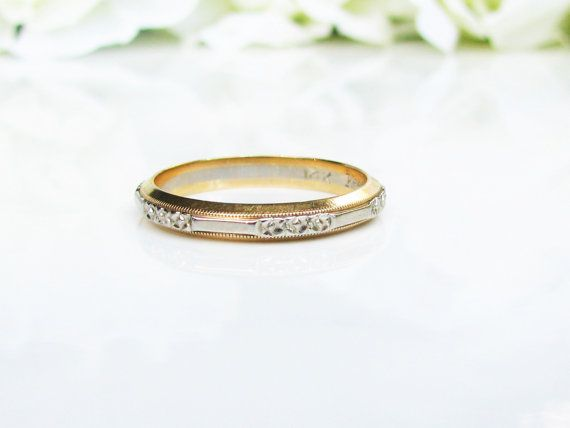 Vintage Keepsake Wedding Ring 14K Two Tone Gold Floral Design Ladies