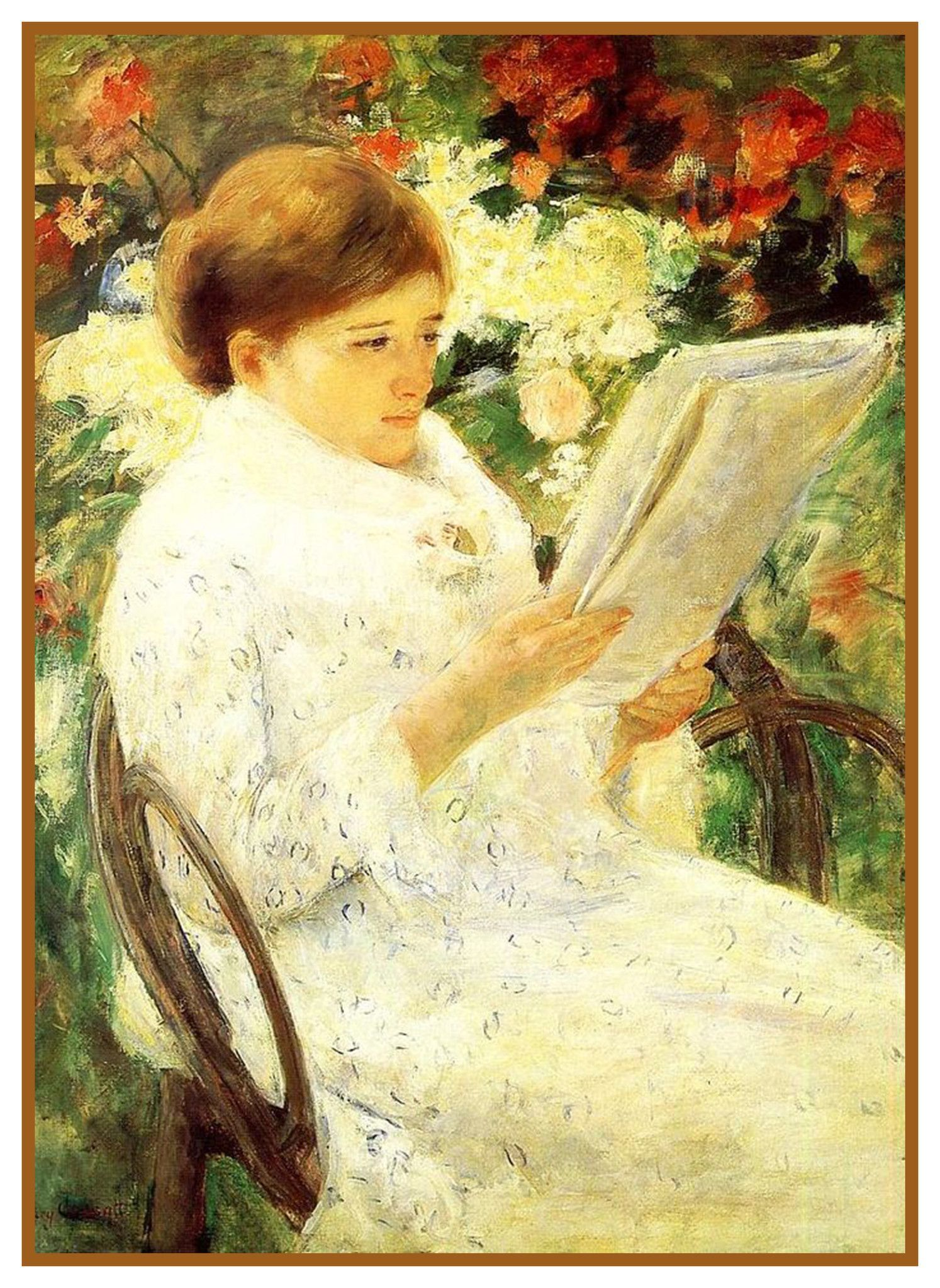 Woman Reading In Rose Garden By American Impressionist Artist Mary Cassatt Counted Cross Stitch Or